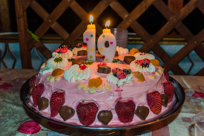 Happy birthday. Cake for 19 year old girl royalty free stock photos