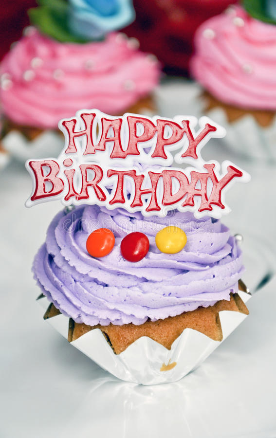 Happy birthday cakes. Small happy birthday cakes with candy royalty free stock images
