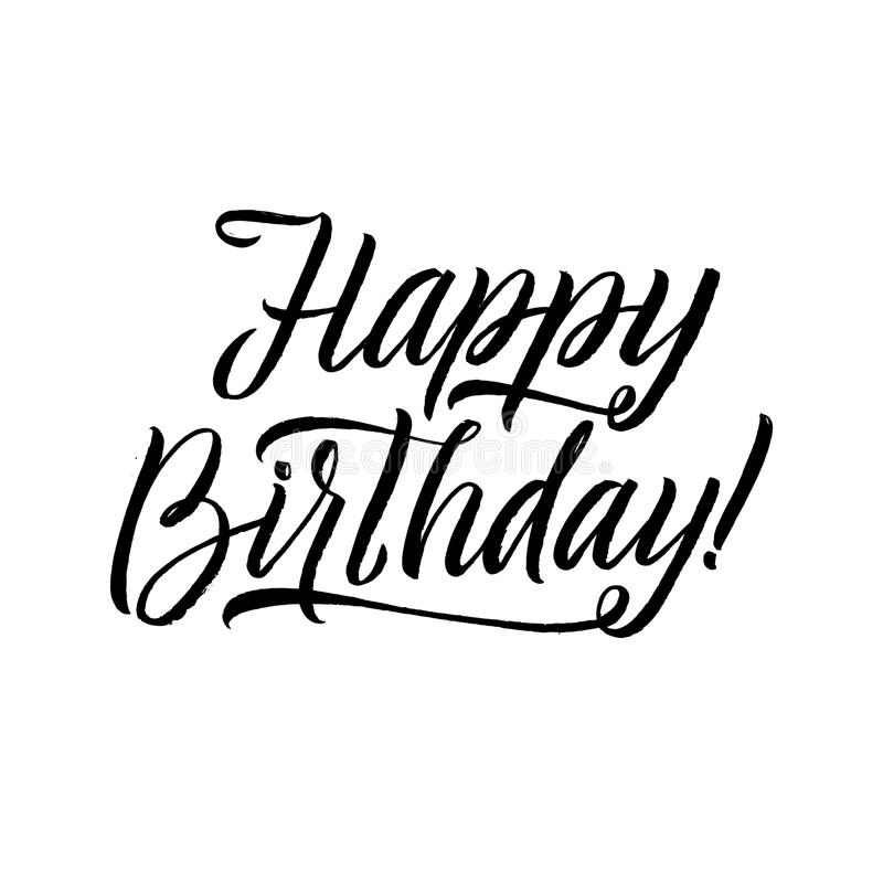 Happy Birthday Calligraphy Greeting Card. Hand Lettering