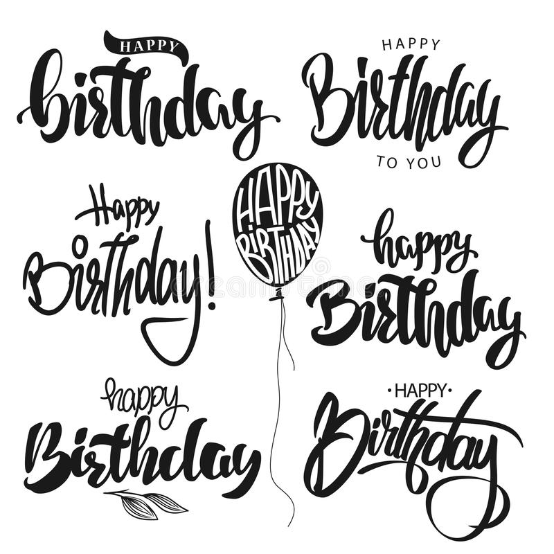 Happy Birthday calligraphy hand lettering set vector vector illustration
