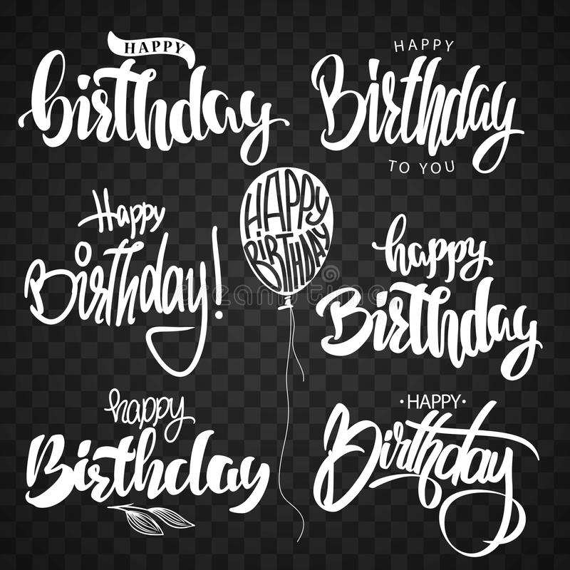 Happy Birthday calligraphy hand lettering set stock illustration