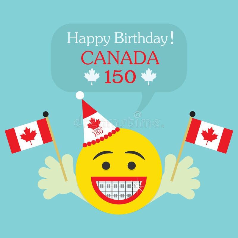 Happy Birthday! Canada 150 emoji icon with braces and Canada flag vector illustration