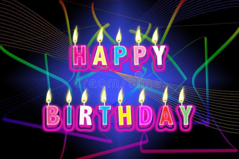 Happy Birthday Candles. An image for celebrate your Happy Birthday with lit colored candles. Shown with a colour rainbow flare in the background stock illustration