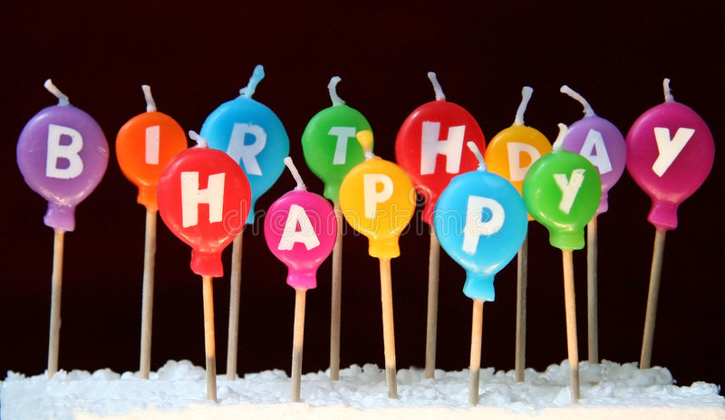 Happy birthday candles. Funny colored happy birthday candles stock image