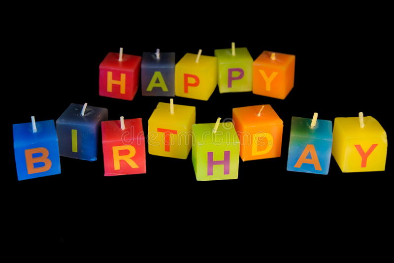 Happy Birthday candles. Beautiful candles with Happy Birthday text stock images