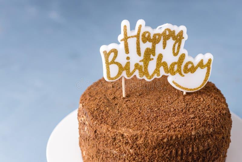 Happy Birthday Candles on Chocolate Cake Tasty Chocolate Homemade Cake for Holiday Close Up Horizontal stock photos