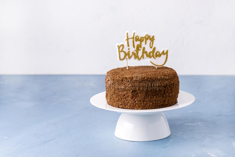 Happy Birthday Candles on Chocolate Cake Tasty Chocolate Homemade Cake for Holiday Horizontal Copy Space stock photography