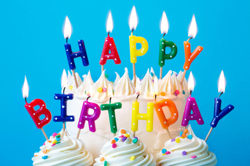 Happy birthday candles royalty free stock photos
