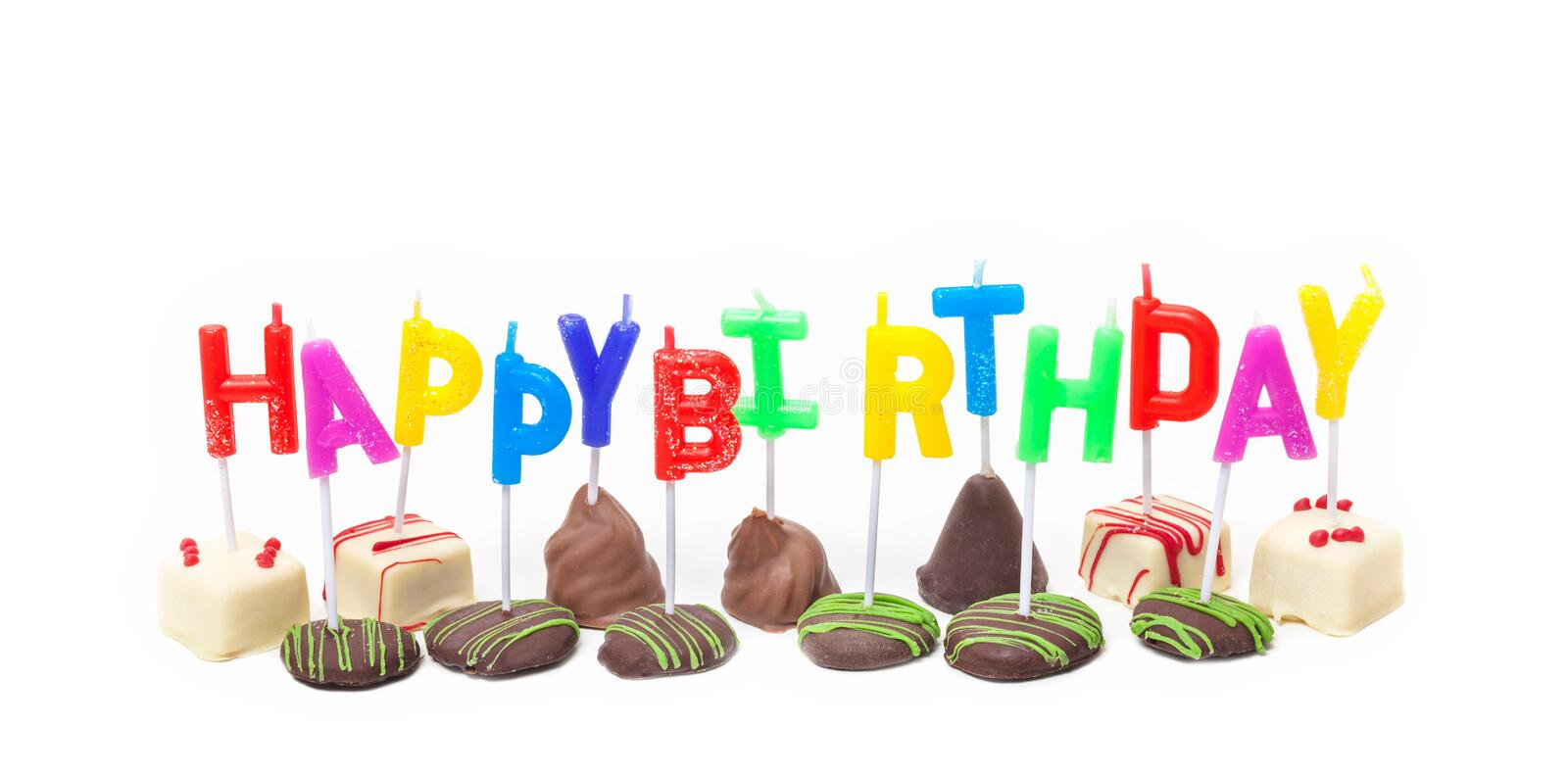 Happy Birthday, candles on confectionery royalty free stock photography