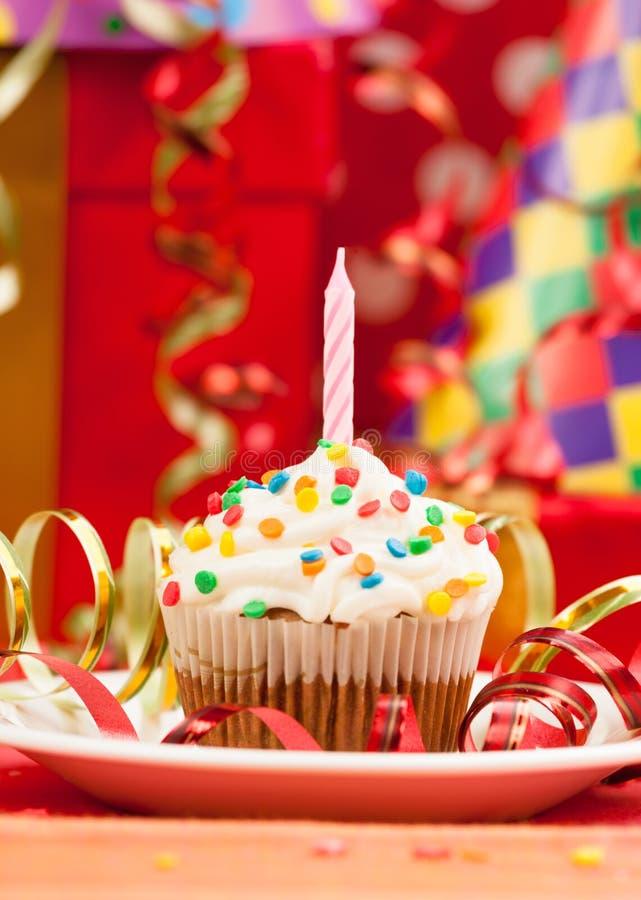 Happy birthday candles cupcake royalty free stock photo