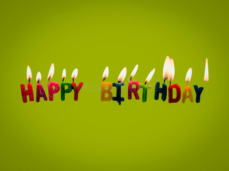 Happy birthday candles on green background vector illustration