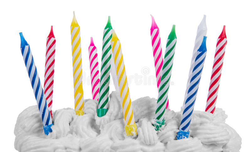 Happy birthday candles. Isolated on white background stock photo