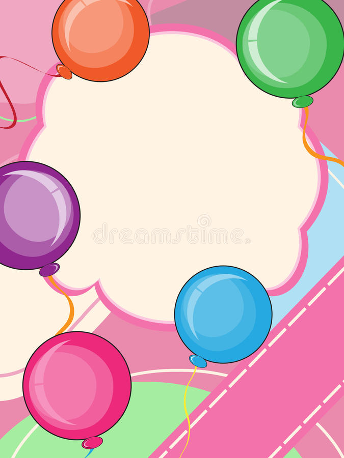 Happy birthday card. Invitation card with colorful balloons royalty free illustration