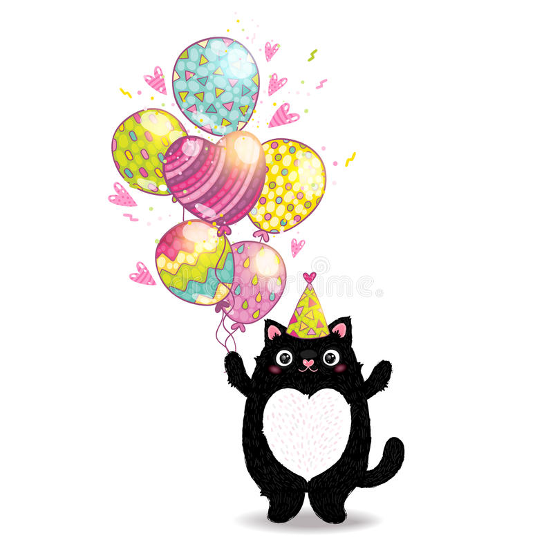 Happy Birthday card background with a cat. Vector holiday party template royalty free illustration