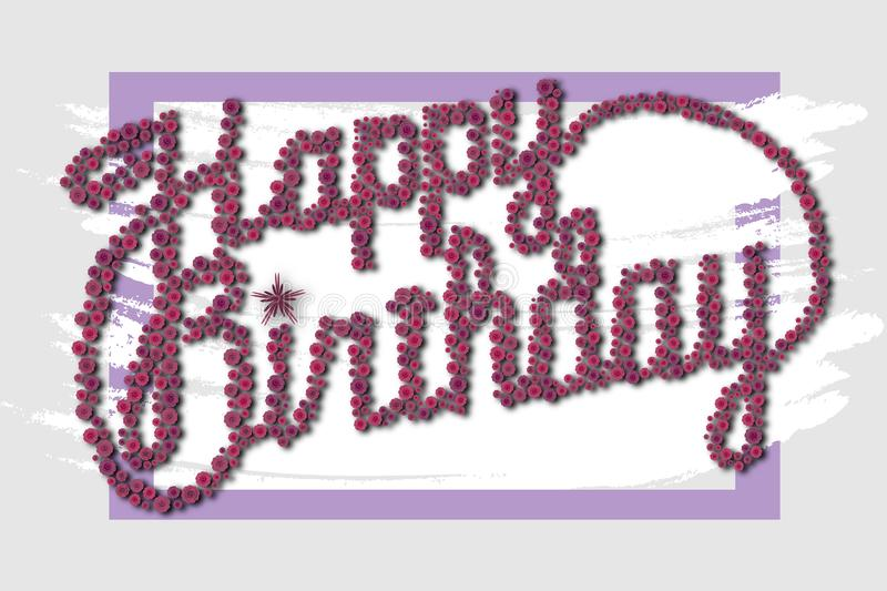 Happy birthday - card. Badge,banner,birthday,design,graphic,greeting,illustration,imprint,label,message,old,pink,print,seal,splashed,sticker,symbol,tag,text royalty free stock photos