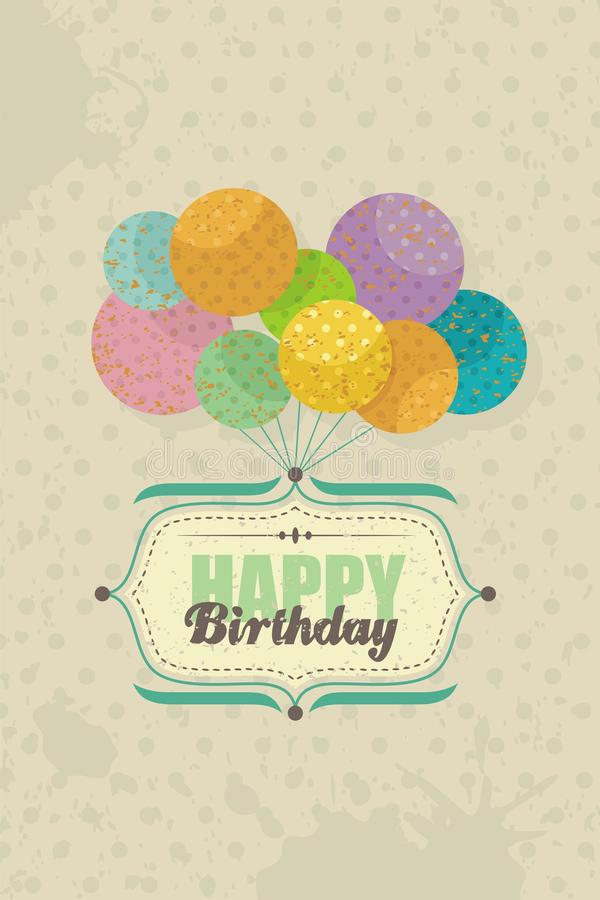 Happy Birthday card with balloons stock illustration