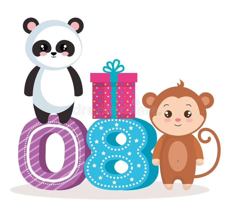 Happy birthday card with bear panda amd monkey. Vector illustration design royalty free illustration