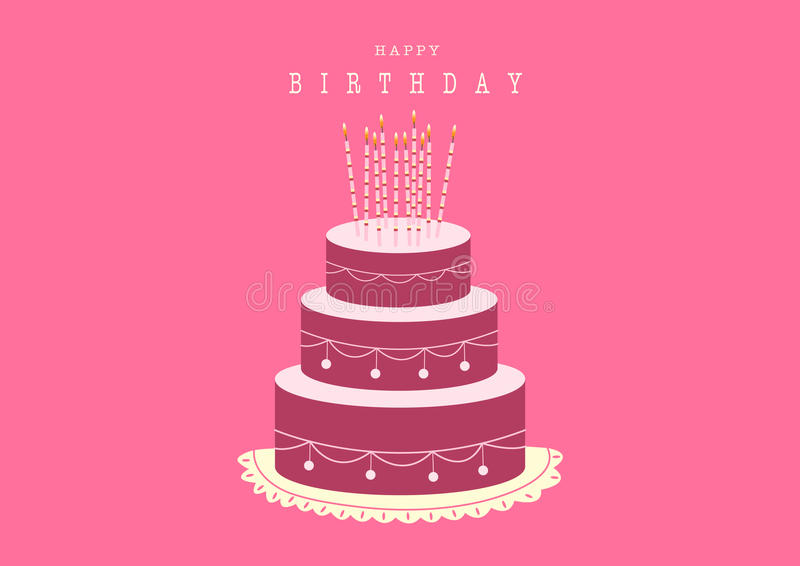 Birthday Cake Images Vektor ~ Happy birthday card with birthday cake vector illustrations stock