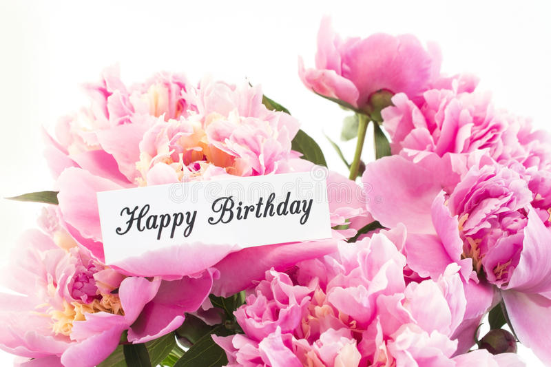 Happy Birthday Card with Bouquet of Pink Peonies stock images