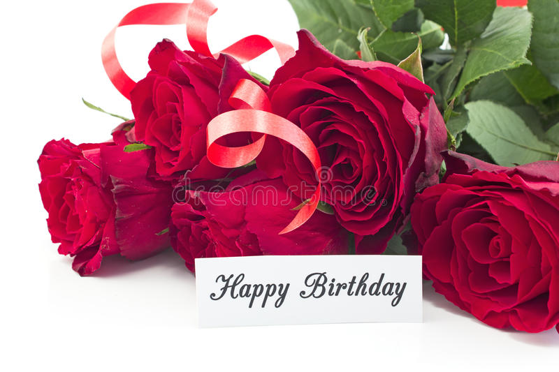 Happy Birthday Card with Bouquet of Red Roses stock photography