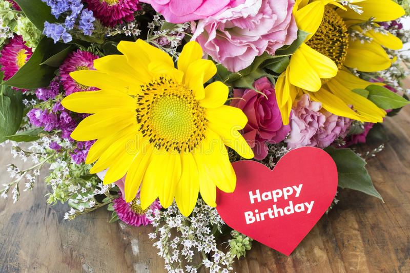 Happy Birthday Card with Bouquet of Summer Flowers.  stock photo