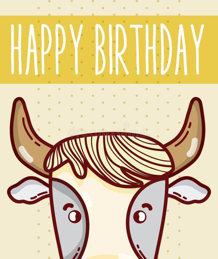 Happy Birthday Card With Animal Cartoon Stock Vector Illustration