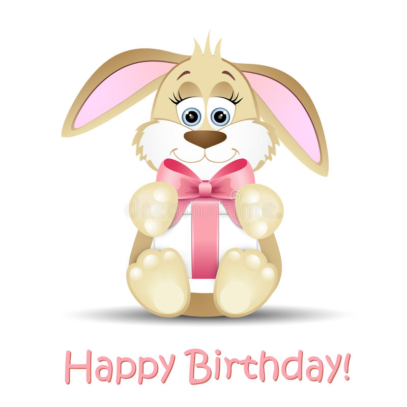Happy Birthday card with a bunny stock illustration