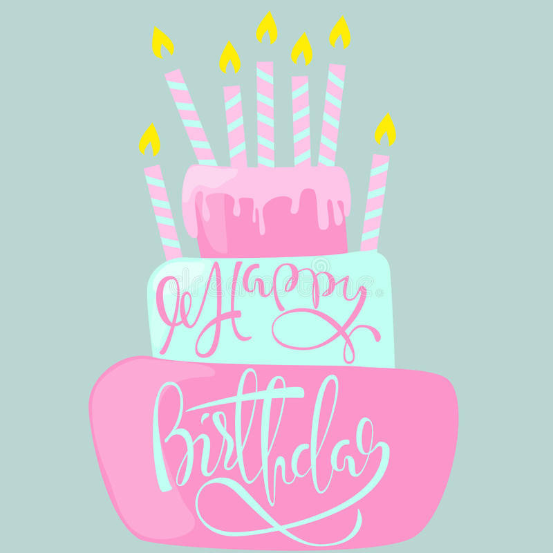 Happy Birthday Card With Cake And Candles Vector Illustration Stock