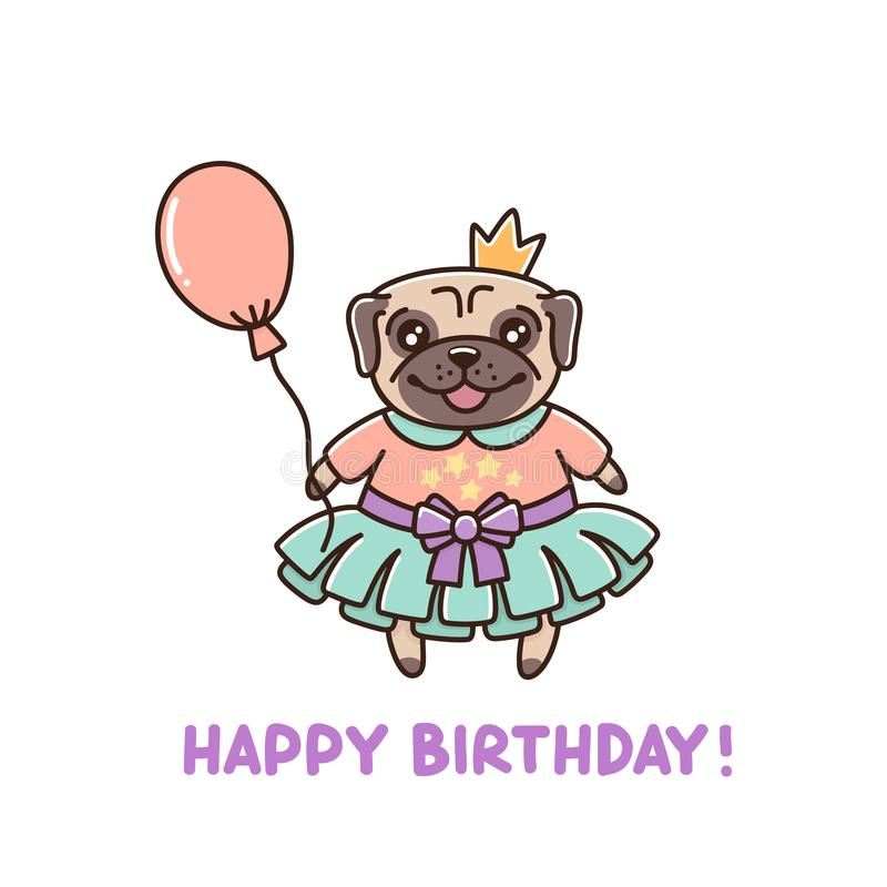 Pretty little dog breed pug in a tutu, with a crown and a balloon. stock illustration