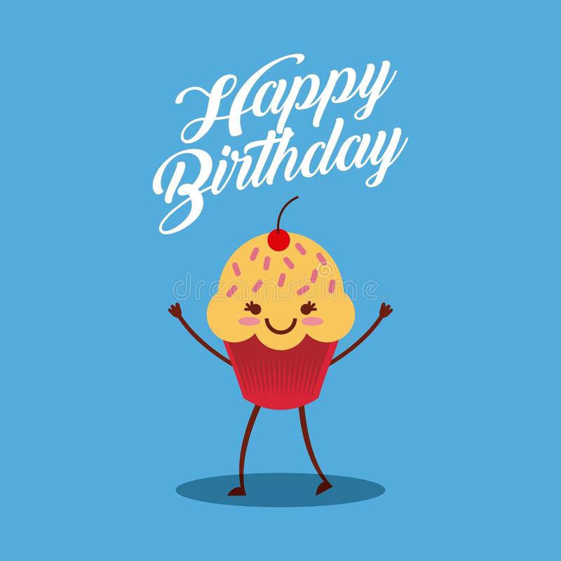 Happy birthday card. With cartoon cupcake with kawaii happy face. colorful design. vector illustration stock illustration