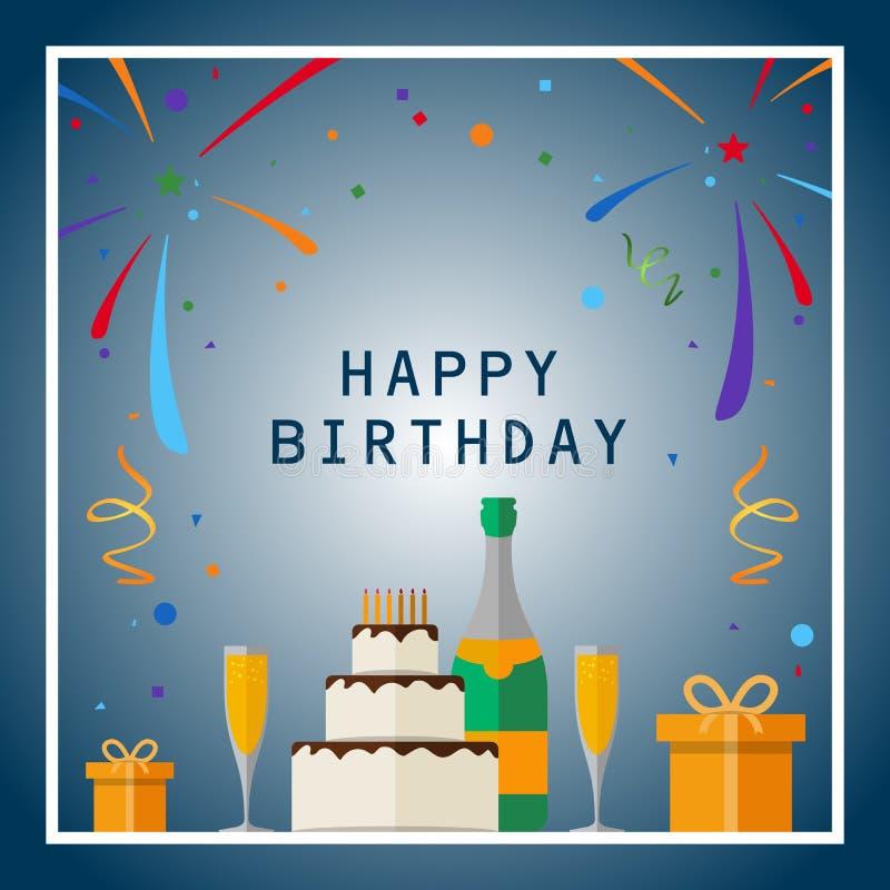 Happy Birthday. Birthday card with celebration design elements. Eps 10 vector illustration