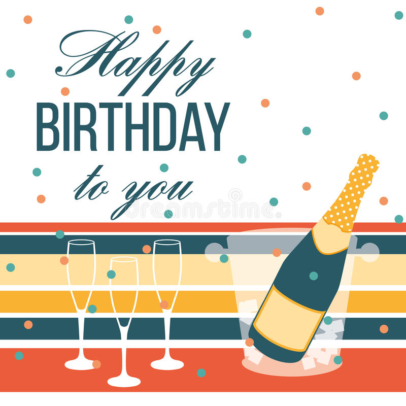 Happy birthday card. Champagne bottle and glasses stock illustration