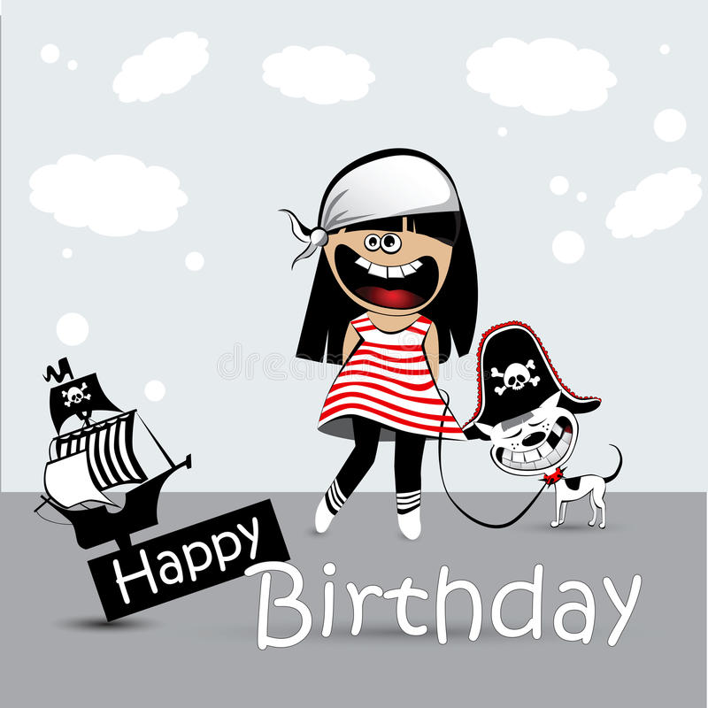 Happy Birthday Card a child with a toy dog pirate. Smile stock illustration