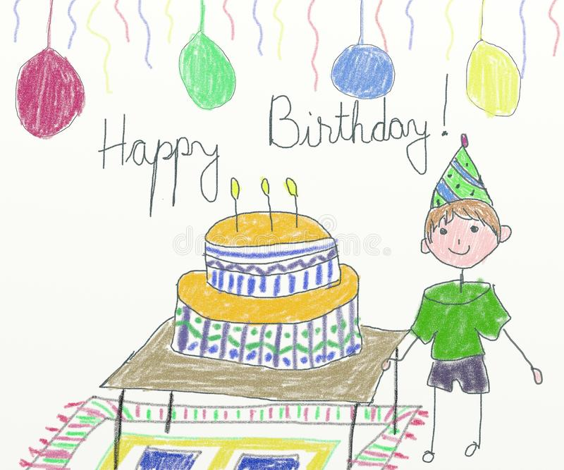 download happy birthday card children drawing stock illustration illustration of card colours
