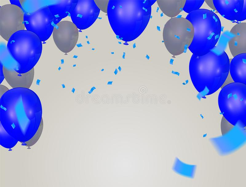 Happy birthday card colorful balloons group and blue balloons ,  background pattern  beautiful colorful illustration royalty free illustration
