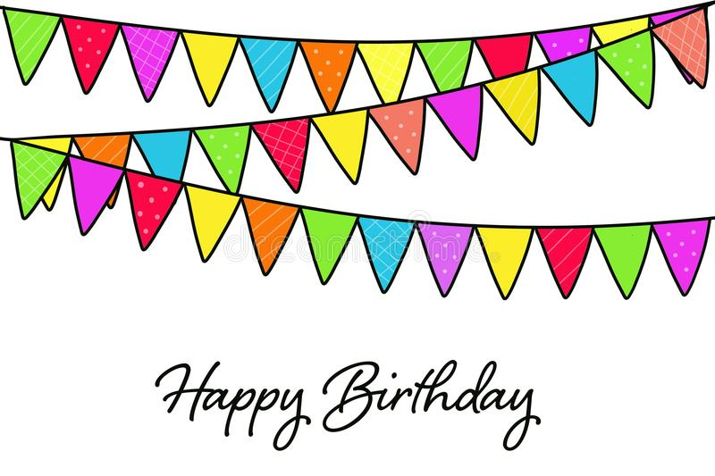 Happy Birthday card with birthday party flags vector illustration