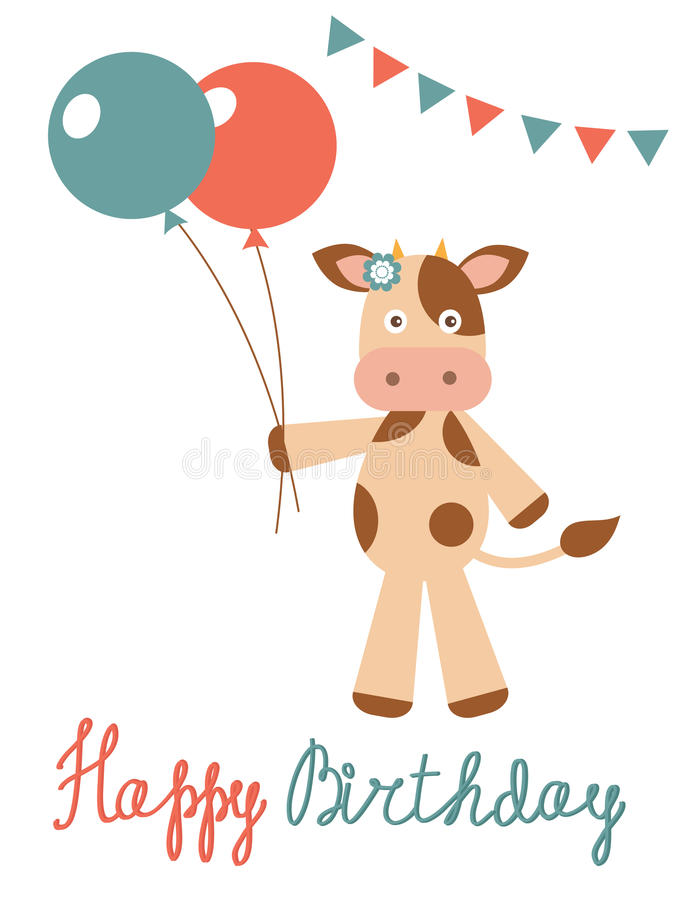 Birthday Card With Cow Holding Balloons Stock Vector Illustration