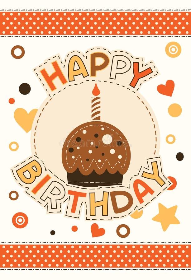 Happy birthday card with cupcake stock illustration