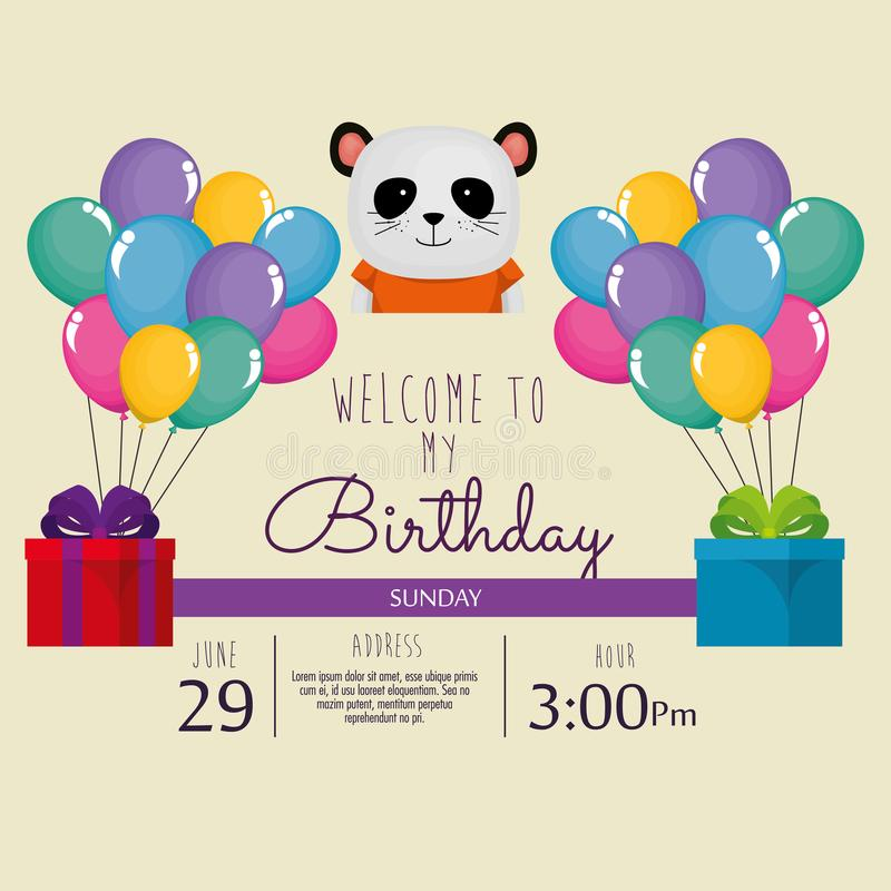 Happy birthday card with cute bear panda stock illustration