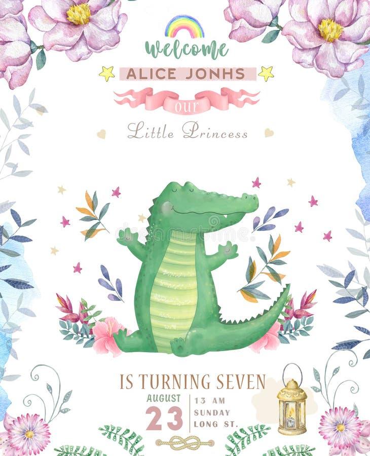 Happy birthday card with cute Croc Dandy Watercolor animal. Cute baby greeting card. Boho flowers and floral bouquets Happy. Birthday set. Watercolor greeting royalty free illustration