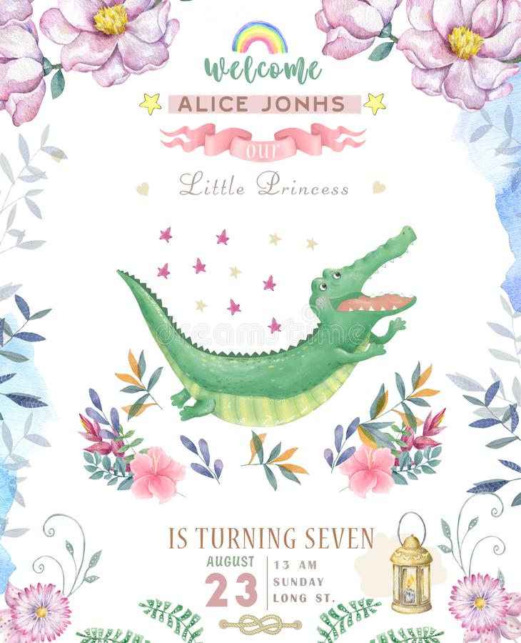 Happy birthday card with cute Croc Dandy Watercolor animal. Cute baby greeting card. Boho flowers and floral bouquets Happy. Birthday set. Watercolor greeting stock illustration