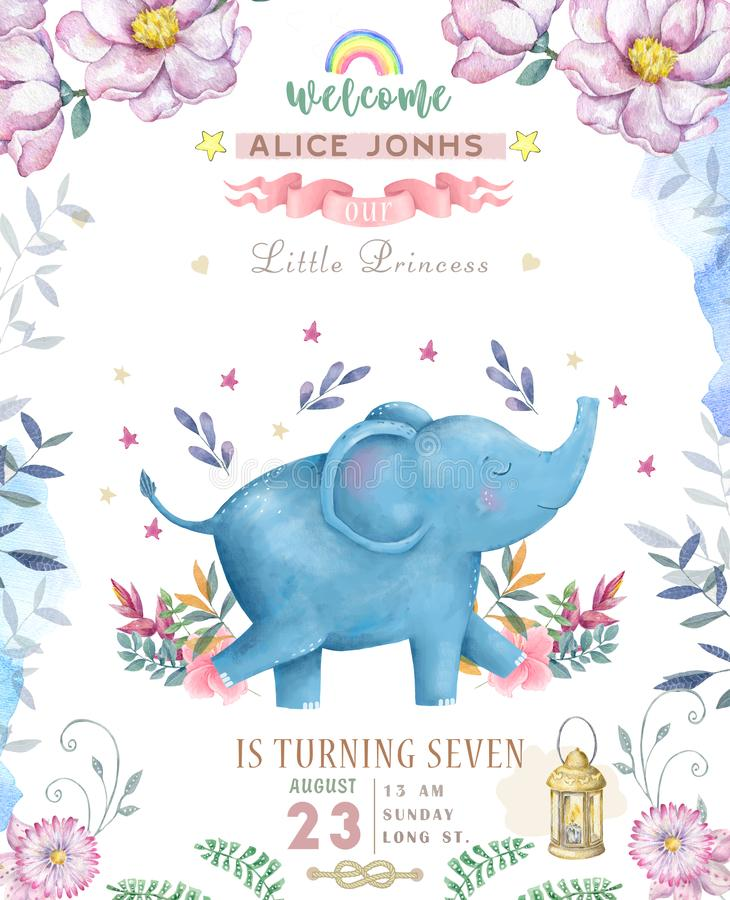 Happy birthday card with cute Elephant Watercolor animal. Cute baby greeting card. Boho flowers and floral bouquets Happy Birthday. Set. Watercolor greeting vector illustration