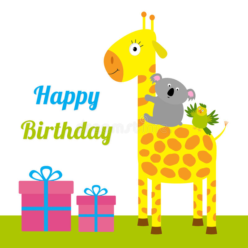 Happy Birthday card with cute giraffe, koala and parrot. Giftbox set Baby background Flat design royalty free illustration