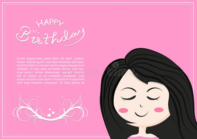 Happy birthday card with cute girl smiles cartoon character, lettering of kids and children romantic calligraphy, celebration. Poster vector illustration vector illustration