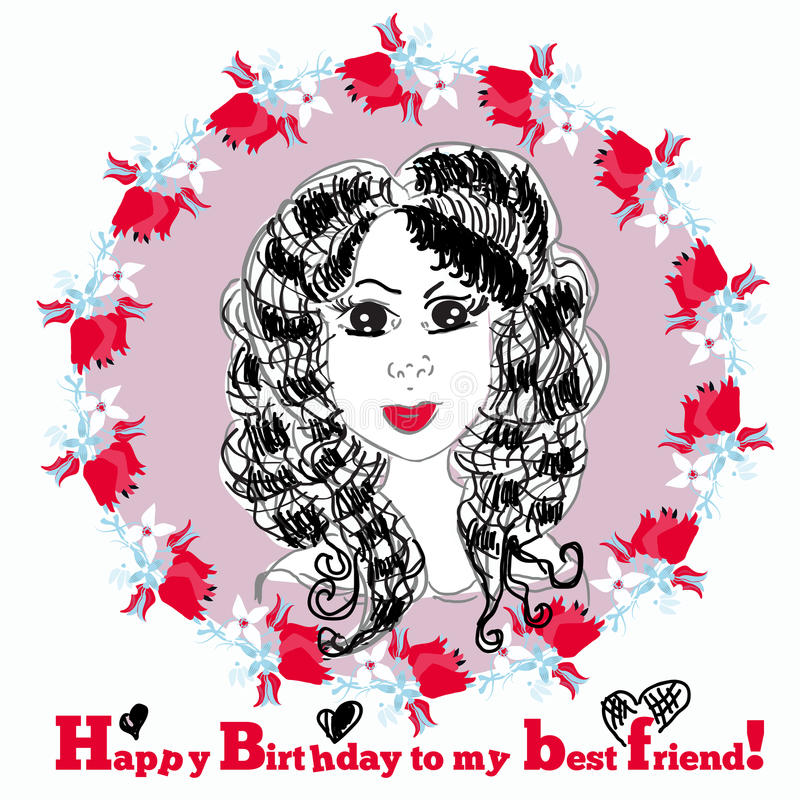Happy Birthday Card with cute girl. Vector stock illustration