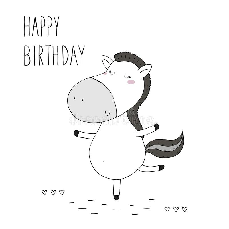 download happy birthday card with cute hand drawn funny horse vector print stock vector