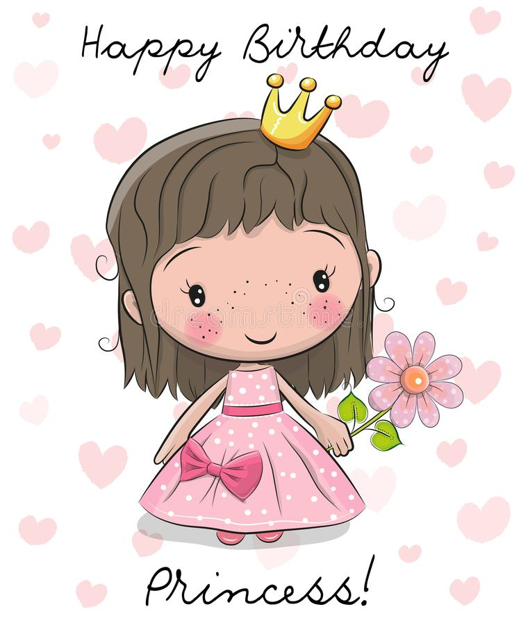 Happy Birthday Card With Little Princess Stock Vector