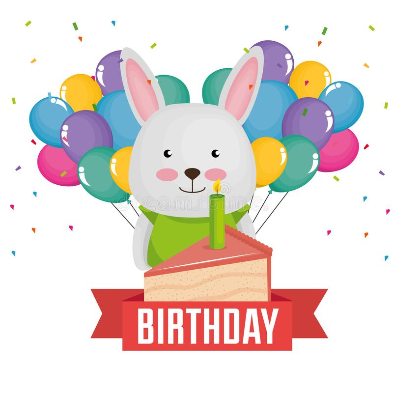 Happy Birthday Card With Cute Rabbit Stock Illustration