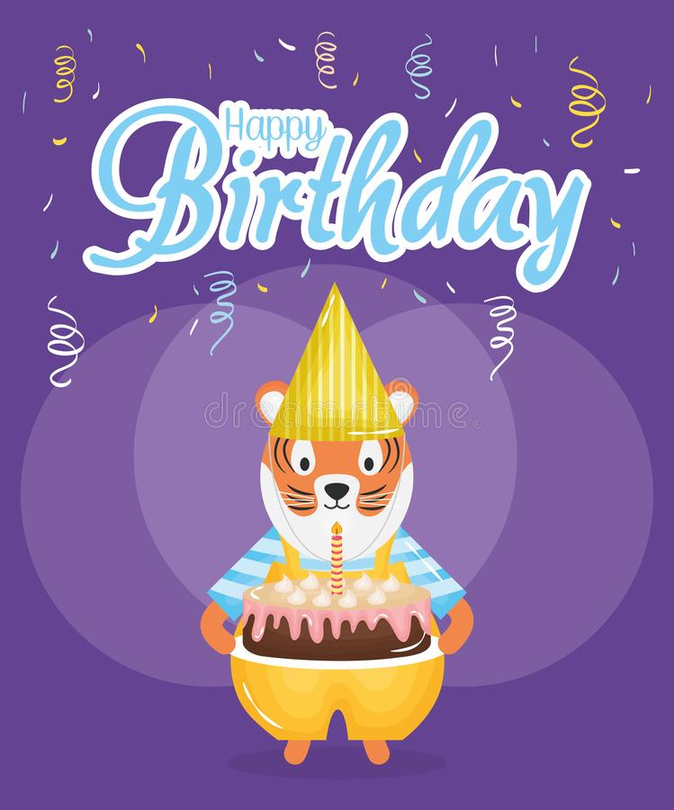 Happy birthday card with cute tiger stock illustration