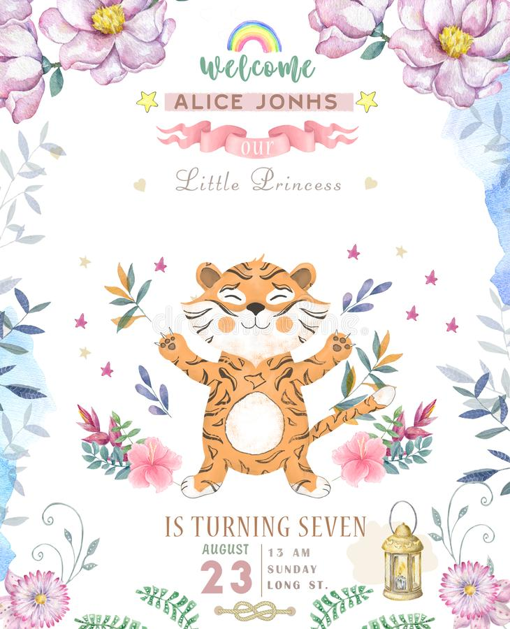 Happy birthday card with cute tiger Watercolor animal. Cute baby greeting card. Boho flowers and floral bouquets Happy Birthday vector illustration